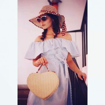 blue and white striped cold shoulder frill dress