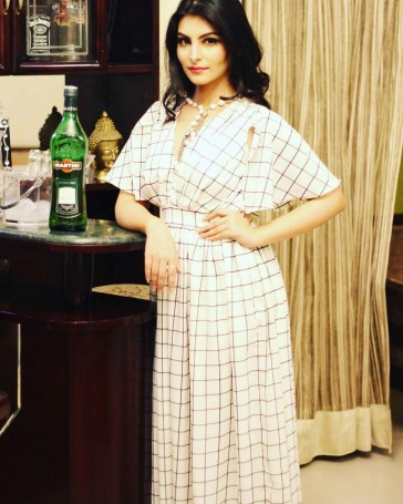 White Checkered Bell Sleeved Maxi Gown