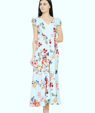 floral cap sleeved maxi dress