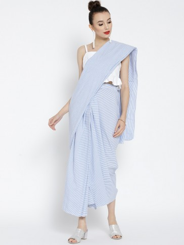 blue and white striped cotton draped pre-stitched saree