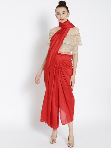 red silk draped pre-stitched saree