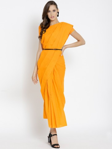 orange cotton print draped pre-stitched saree
