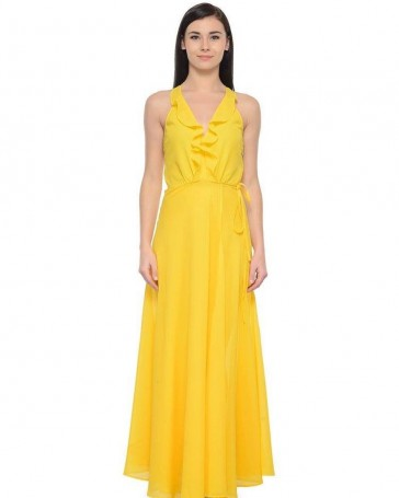 yellow frill neck maxi dress