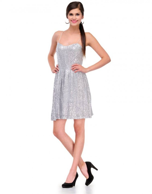 Blair s Silver Sequinned Skater Dress ae641a4be