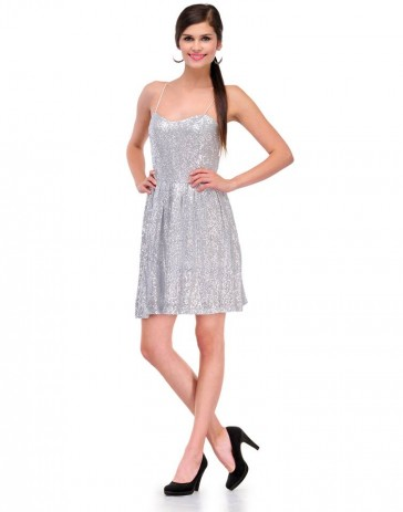 Blair's Silver Sequinned Skater Dress
