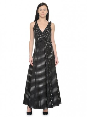 polka frill neck maxi dress