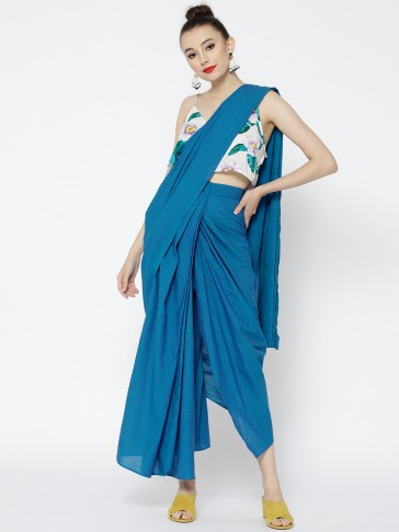 blue cotton draped pre-stitched saree