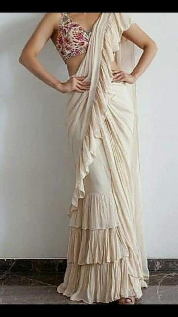 white ruffle ready to wear pre-stitched saree