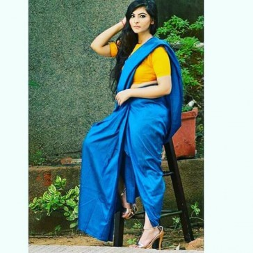 Blue silk draped saree gown
