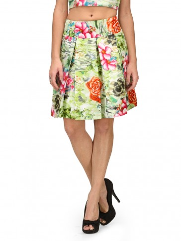 Green Floral Short Pleated Skirt