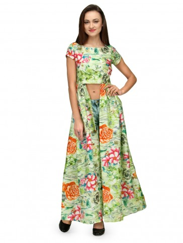 Half Sleeve Green Floral Cape Top