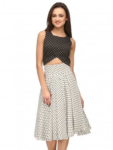 White skirt with black polka crop top