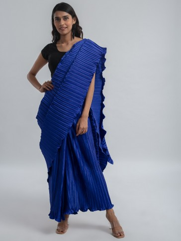 blue pleated ready to wear pre-stitched saree