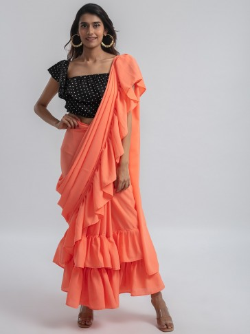 peach ruffle ready to wear pre-stitched saree