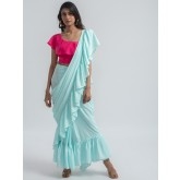 pale blue ruffle ready to wear pre-stitched saree