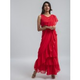 red ruffle ready to wear pre-stitched saree