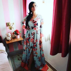 Blue & Pink Floral Fall Maxi Dress