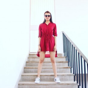 Maroon Shirt Dress