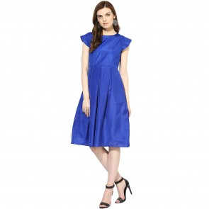 Blue Half Sleeved Silk Dress