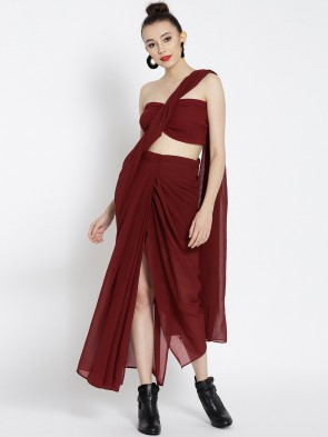 maroon draped pre-stitched ready to wear saree