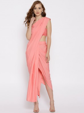 pink draped pre-stitched saree