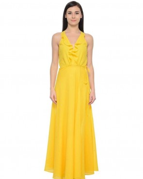 yellow frill neck maxi  summer dress