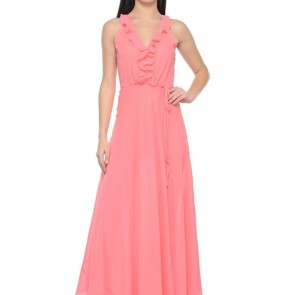 pink frill neck maxi summer dress