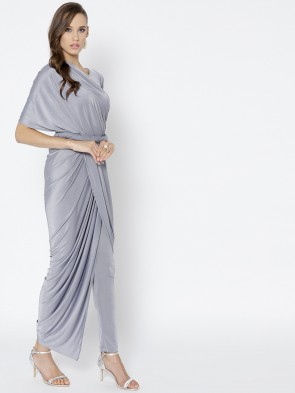 grey lycra pant draped pre-stitched saree