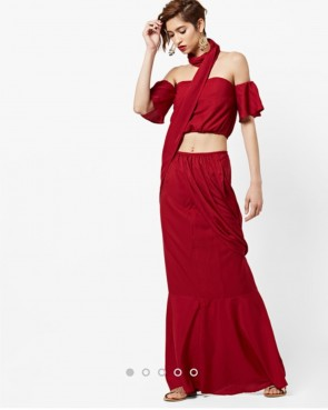 maroon pre-stitched ready to wear saree with top