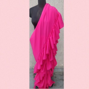 pink ruffle ready to wear pre-stitched saree
