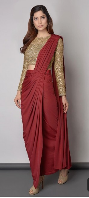 red silk pre-stitched ready to wear saree with golden blouse