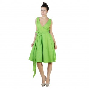 Green Cotton Wrap Dress