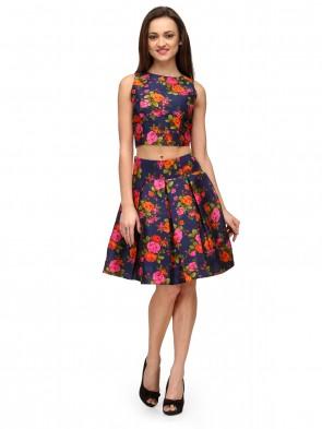 Blue Floral Short Pleated Skirt