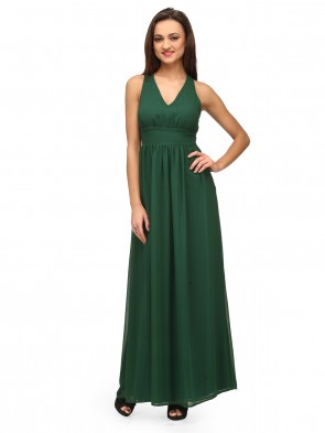 Green Maxi Criss Cross Back Gown