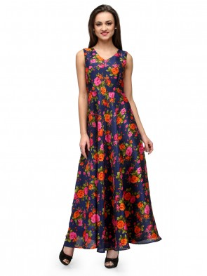 Blue floral printed maxi dress