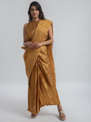 golden pleated ready to wear pre-stitched saree